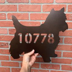 Metal Sign Cairn Terrier Silhouette no rust Personalize it with Text or House Number yard stake or wall hanging Welcome Sign 15 wide