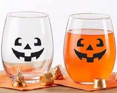 Jack O Lantern Stemless Wine Glass Fall Halloween Wedding Party Glassware #Unbranded