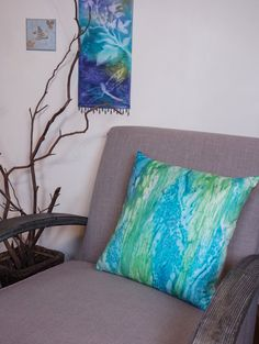 Blue and GreenCoastal Pillow Cover 18x18 от WatercolorMuse1