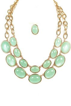 Chunky Gold Chain and Mint Necklace with Earrings by BXCouture, $33.00