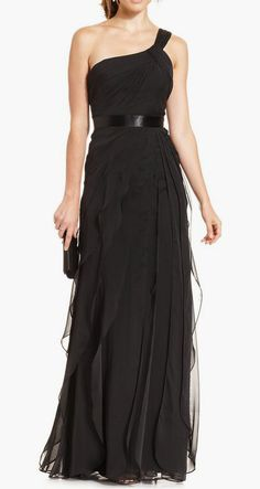 Adrianna Papell One-Shoulder Tiered Chiffon Gown #sponsored