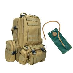 Pinty Premium Large Volume Tactical Backpack Bundle with 3L Hydration Water Bladder and Molle Bags Heavy Duty Nylon -- Additional details at the pin image, click it  : Backpacks for hiking