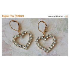 Crystal Heart Earrings, Valentine Earrings, Crystal Rhinestone Heart... ($18) ❤ liked on Polyvore featuring jewelry, earrings, crystal heart jewelry, crystal jewellery, crystal earrings, sparkly earrings and heart jewelry