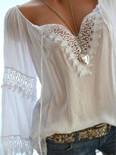 Autumn Spring Cotton Women Tie Collar Decorative Lace Hollow Out Plain Long Sleeve Blouses Online store for the latest fashion & trends in women's collection. Shop affordable ladies' Dresses, Clothing, Shoes & Accessories with top quality. Mode Outfits, Casual Outfits, Fashion Outfits, Womens Fashion, Fashion Trends, Latest Fashion, Fashion 2017, Fashion Online, Mode Hippie