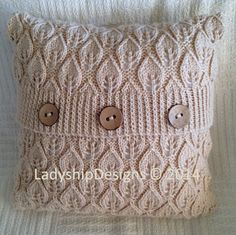 """This 16""""x16"""" (40 x 40cm) pillow cover incorporates the classic leaf pattern in an all over design. By Jennifer Wilby on Ravelry"""