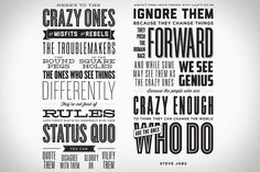 Complete your collection of Think Different posters with the quote that launched it all. This Here's To The Crazy Ones Letterpress Poster ($100-$200) contains the full quote from the iconic 1997 Apple commercial, the majority of which has been attributed to our late hero Steve Jobs, who even tried on the narrator hat himself before bowing to Richard Dreyfuss in the version that actually aired.