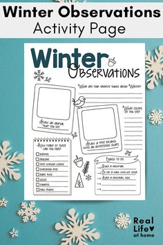 Winter is a wonderful time to get outside and observe nature. Kids can use this winter nature study printable to record the things they see. Winter Activities For Kids, Educational Activities For Kids, Kindergarten Activities, Winter Fun, Winter Theme, Winter Words, Math Patterns, Nature Study, Worksheets For Kids