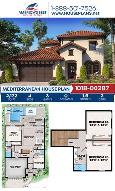 Get to know this darling Mediterranean home design, Plan 1018-00287 features 2,172 sq. ft., 4 bedrooms, 3 bathrooms, a kitchen island, an open floor plan, a lanai, and a 2 car garage. #mediterraneanhome #lanai #openfloorplan #architecture #houseplans #housedesign #homedesign #homedesigns #architecturalplans #newconstruction #floorplans #dreamhome #dreamhouseplans #abhouseplans #besthouseplans #newhome #newhouse #homesweethome #buildingahome #buildahome #residentialplans #residentialhome Best House Plans, Dream House Plans, Small House Plans, House Floor Plans, Floor Plan 4 Bedroom, 4 Bedroom House Plans, Building Plans, Building A House, Spanish Revival Home