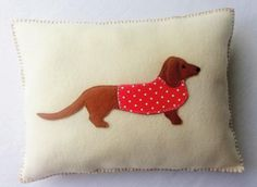 Felt Dachshund Pillow PDF Sewing Pattern, Applique, Tutorial, Instant Download by SewJuneJones on Etsy