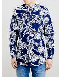 ca656706b Camisa de Manga Larga con print de flores Azul Marino | Moda hombre ...