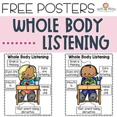 This 4 page poster set helps you visually show students what it means when they are actively listening to your instructi 5th Grade Classroom, Preschool Classroom, Kindergarten, Classroom Decor, Beginning Of The School Year, First Day Of School, School Fun, Whole Body Listening, For Elise
