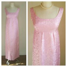 60s hostess evening dress / pink floral brocade, large satin bow / 60s maxi dress, 60s cocktail dress, womens small / 30 inch empire waist