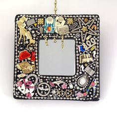 Born To Shop Jeweled Mosaic Mirror Handmade OOAK by Nostalgianmore, $110.00