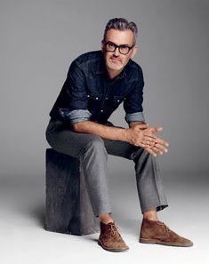 Dope business Casual. Grey slacks, dark denim shirt, brown suede desert boot