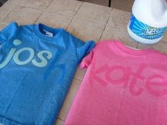 Put paper cut outs on shirt, spray over letters with bleach (undiluted). Let dry, peel off.
