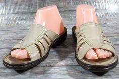 e937ca11fb3 Clarks Sandals Womens Size 8 M Solid Beige Leather Slides Shoes