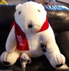 COCA COLA giant plush stuffed white Polar Bear holds coke bottle x Giant Animals, Plush Animals, Stuffed Animals, Giant Plush, White Polar Bear, Toy Sale, Coke, Pet Toys, My Ebay
