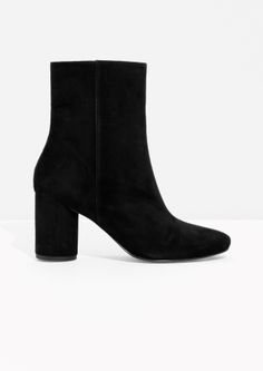 & Other Stories High Shaft Suede Boots in Black