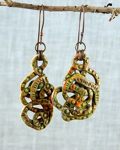 Polymer Clay Handmade Earrings  Antiquated by storiestheytell