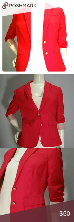 Banana Republic Red Blazer Sz 2 NWT Red Banana Republic Blazer with Gold Tone Buttons. Sleeves are full length with 3 gold tone buttons at the cuffs but look Great rolled up with contrasting sleeve lining ( beige and white stripes.) The back has a double vent (see pic.) Gold tone buttons, a chest Welt Pocket and 2 front Flap Patch Pockets finish the details. Great jacket for a pop of color! Happy to provide measurements/info/pics as needed.  Sz 2, NWT from a smoke free home. Banana Republic…