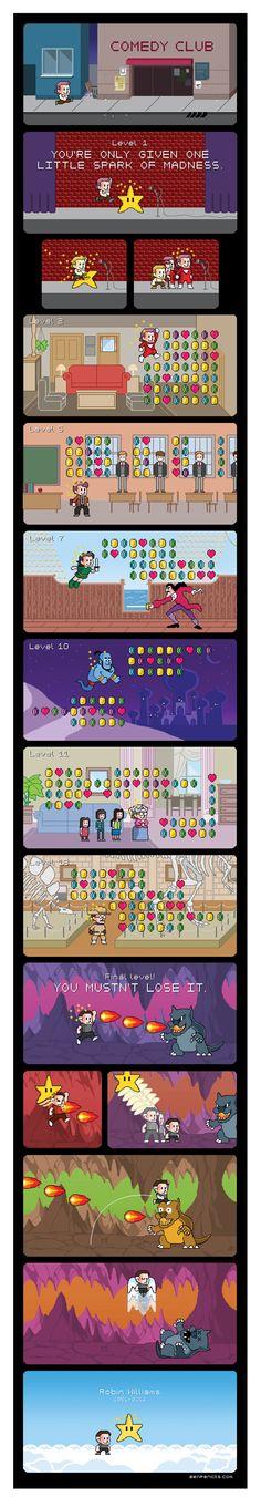 Robin Williams Timeline 8-Bit Style via: #zenpencils