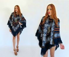 Vintage 70s Navy Blue FRINGE KNIT Poncho OS by GypsyStardustDesign, $45.00