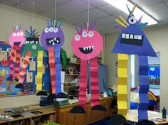 We have been busy doing lots of Halloween projects in Kindergarten. Last Tuesday, they each made a shape monster.  T...