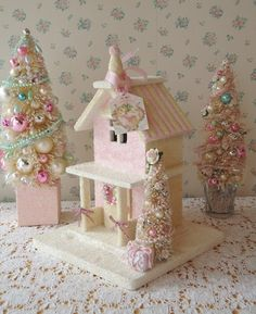 Shabby Pink Christmas Cottage w/ Bottle Brush by IllusiveSwan