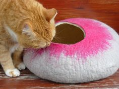 Hand made cat cave which is already made and ready to ship with additional toy for your cat.