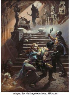 Original Comic Art:Paintings, Frank Frazetta In Pharaoh's Tomb Battlestar GalacticaPainting Original Art (1978)....