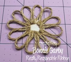 Diy Crafts - Hi everyone. Bonnie from Really Reasonable Ribbon here today with a tutorial for an easy Jute Loopy Flower embellishment. Twine Flowers, Paper Flowers Diy, Handmade Flowers, Flower Crafts, Fabric Flowers, Burlap Flower Tutorial, Bow Tutorial, Twine Crafts, Diy Crafts