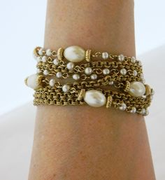 Vintage 60s Lisner Bracelet Multi Strand Chain Faux Pearl Gold Tone, Signed Bracelet, Mid Century, Costume Jewelry, Free Shipping by DecoOwl on Etsy