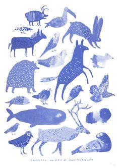 Fröken Gul - Poster Collected animals, blå A3