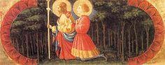 Paolo Uccelo - Predella di Quarate - La predella è composta da un'unica tavola lignea a fondo oro, in cui sono dipinti tre ovali con la Visione di san Giovanni a Patmos, l'Adorazione dei Magi (al centro e di dimensioni maggiori) e i Santi Giacomo il Maggiore e Ansano.