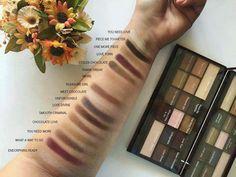 Swatches of I Heart Chocolate Palette @makeuprevolution  #minarose
