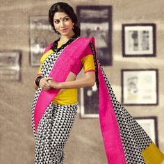 Off White and Black Art Silk Saree with Blouse