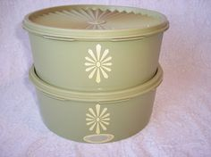 Vintage Tupperware Canister Set of 2 Avocado Green Kitchen Bowls