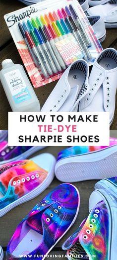 Sharpie Tie Dye, Sharpie Shoes, Sharpie Crafts, Tie Dye With Sharpies, Sharpie Markers, Tie Dye Shoes, How To Dye Shoes, How To Tie Dye, Diy Tie Dye Converse