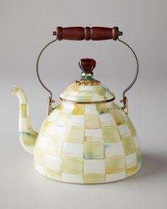 MacKenzie-Childs Parchment Check 2-Quart Tea Kettle