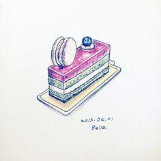 #甜點 #蛋糕 #dessert #sweet #sketchbook #illustration #drawing #painting #cake #berry #moleskine #Padgram