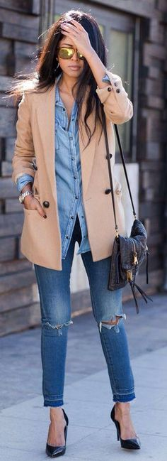 Chambray under camel