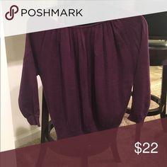 Plum purple sweater Gorgeous plum purple sweater from loft. Gently worn. Wish it still fit! Blousey size S. Little black ribbon tie at the back neck. LOFT Sweaters Crew & Scoop Necks
