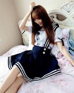 School Girl Set Summer Navy Sailor Dress Navy Marine Uniform Kawaii Sexy Costume