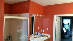 Peppery by applied by Orange Bathrooms, Demolition Derby, Corals, File Folder, Home Living Room, Master Bath, Paint Colors, Bedrooms, Laundry