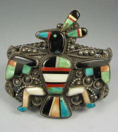 Zuni Hopi Bird Knifewing Man Mosaic Inlay Bracelet