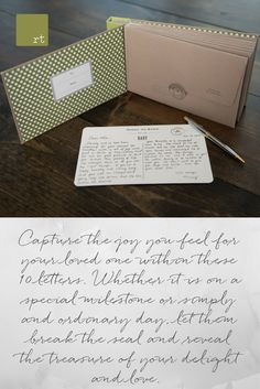 Capture the joy you feel for your loved one within these 10 letters. Whether it is on a special milestone or simply and ordinary day, let them break the seal and reveal the treasure of your delight and love. Each journal is ribbon tied and includes 10 individual note cards and envelopes. #Giftideas #Journaling #Letter