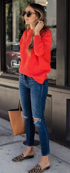cute outfit_red sweater + ips + bag + loafers