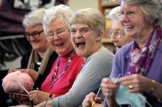 Margaret Stanbridge, with the Knit and Natter ladies at Cramlington Library