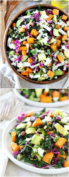 Sweet Potato and Black Bean Kale Salad Recipe ... This is my favorite kale salad! It goes great with any meal or can be a meal! It is packed with flavor!