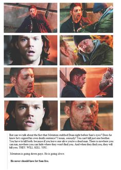 "Metatron is going to die. Painfully. At the Mercy of Sam Winchester. ""That's for my brother, you dirty Son of a bitch!"""